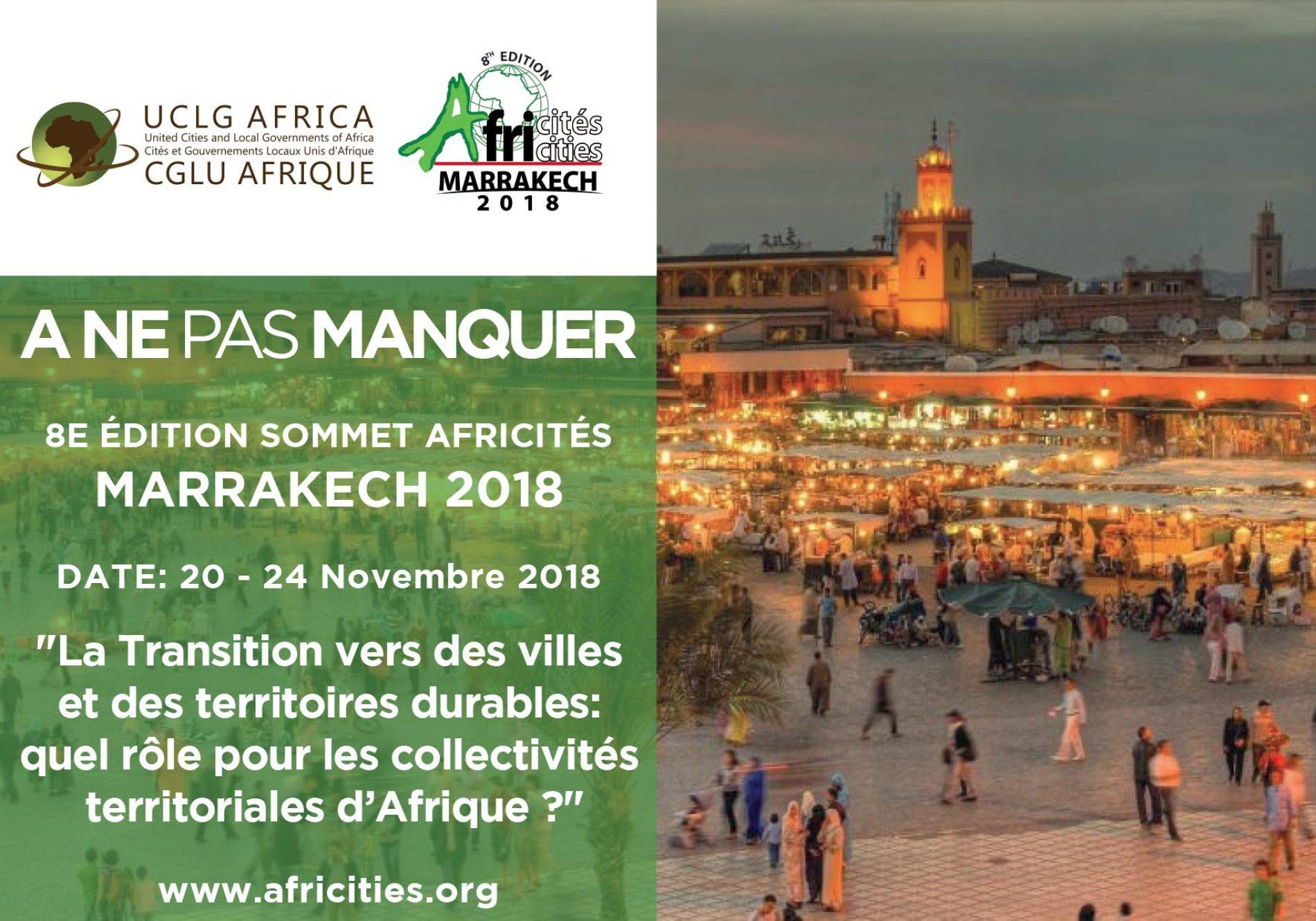 Le 8ème sommet Africités en novembre 2018 à Marrakech